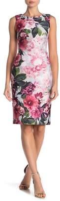Modern American Designer Floral Patterned Sheath Dress