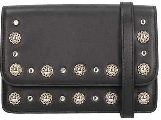 Grey Mer Black Leather Shoulder Bag