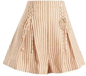 Zimmermann - Painted Heart Lace Up Striped Linen Shorts - Womens - Pink Multi