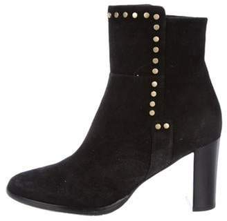 Jimmy Choo Suede Round-Toe Ankle Boots Black Suede Round-Toe Ankle Boots