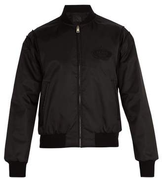 Prada Logo Embroidered Bomber Jacket - Mens - Black