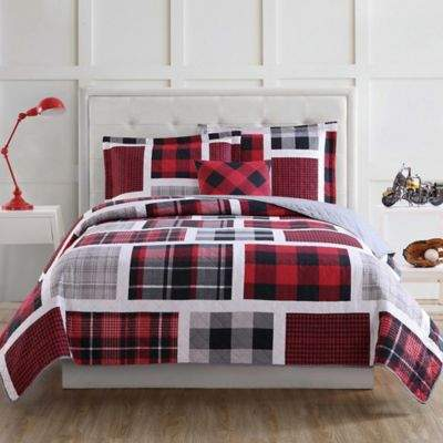 Laura Hart Kids Buffalo Plaid Full Quilt Set in Red/Black
