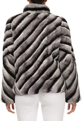 Gorski Diagonal Striped Rex Rabbit Fur Coat