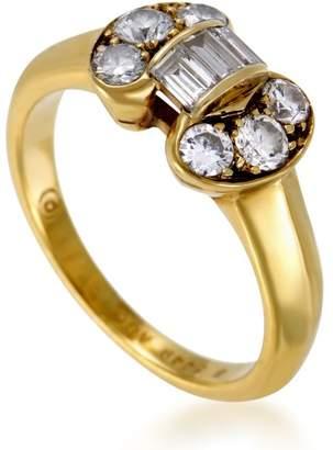 Van Cleef & Arpels 18K Yellow Gold Diamond Bow Ring Size 5.5