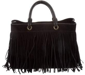 Milly Fringe-Trim Suede Satchel