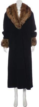 Giorgio Armani Fur-Trimmed Wool Coat