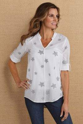 Soft Surroundings Embroidered Star Tunic