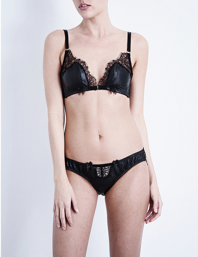 EDGE O' BEYOND Odile leather and lace triangle bra