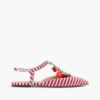 Striped pointed-toe flats with chain link $168 thestylecure.com