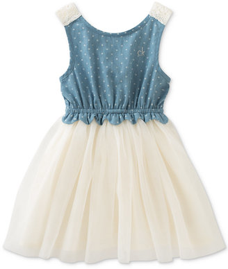 Calvin Klein Denim & Tulle Dress, Baby Girls (0-24 Months) $50 thestylecure.com