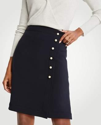 Ann Taylor Petite Pearlized A-Line Doubleweave Skirt