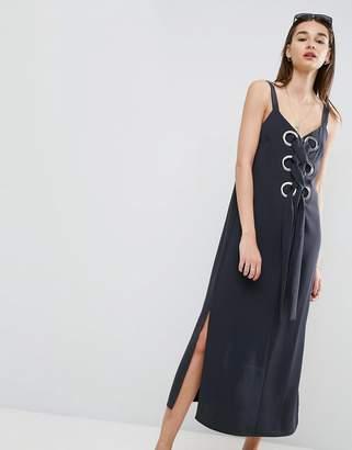 Asos Design Eyelet Detail Maxi Dress