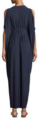 Melissa Masse Cold-Shoulder Cape-Sleeve V-Neck Maxi Dress