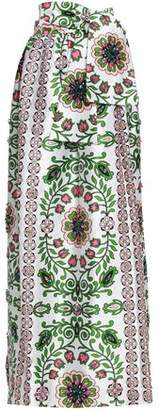 Tory Burch Crystal-Embellished Printed Silk-Satin Maxi Skirt