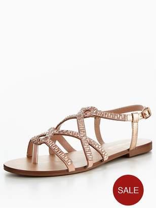 Head Over Heels Nadia Embellished Strappy Flat Sandal - Rose Gold