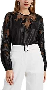 Robert Rodriguez Women's Lace-Inset Crinkled Satin Blouse - Black