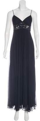 BCBGMAXAZRIA Silk Embellished Maxi Dress