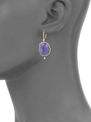 Meira T Tanzanite, Mother-Of-Pearl, Diamond & 14K Yellow Gold Drop Earrings