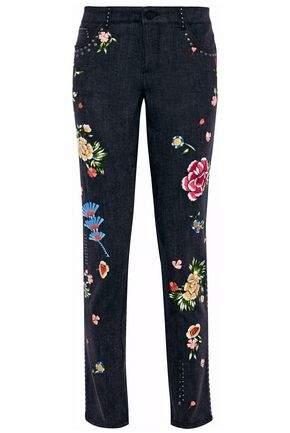 Jane Embellished Mid-Rise Slim-Leg Jeans