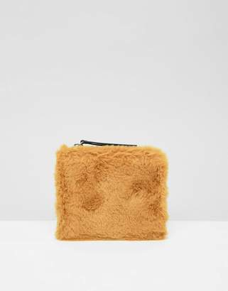 Monki Faux Fur Zipped Wallet