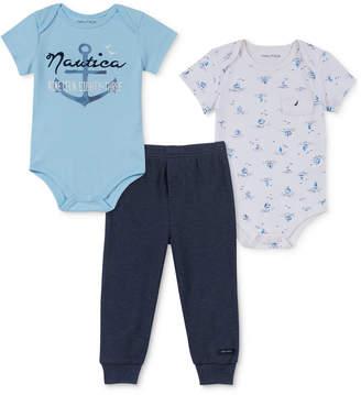 Nautica (ノーティカ) - Nautica Baby Boys 3-Pc. Printed Bodysuits & Jogger Pants Set