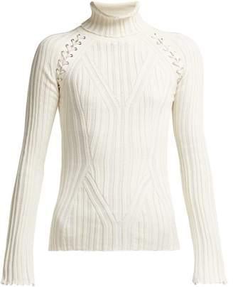 Alexander McQueen Lattice Silk Blend Sweater - Womens - Ivory