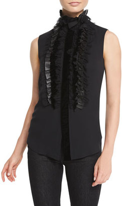 Ralph Lauren Collection Adeena Ruffled Sleeveless Blouse, Black $1,750 thestylecure.com