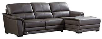 American Eagle Furniture Chandler Collection Contemporary Italian Top Grain Leather Living Room Sectional Sofa and Chaise on Right With Pillow Top Armrests and Tufting