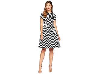 Unique Vintage Cotton Chevron Fit Flare Dress