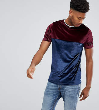 Asos TALL T-Shirt In Velour With Contrast Yoke And Tipping