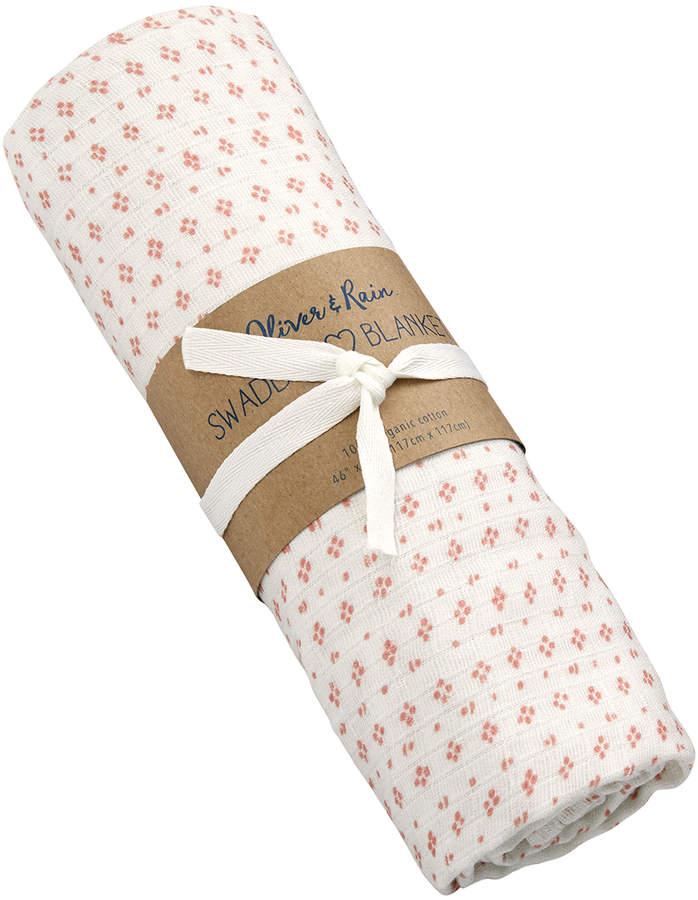 Navy Raindrop Organic Muslin Cotton Swaddle Blanket