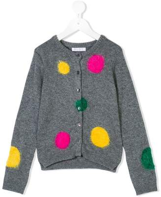 Elsy fluffy patch buttoned cardigan