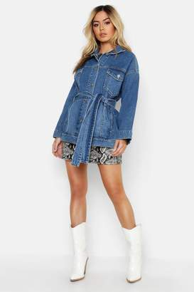boohoo Petite Belted Denim Jacket