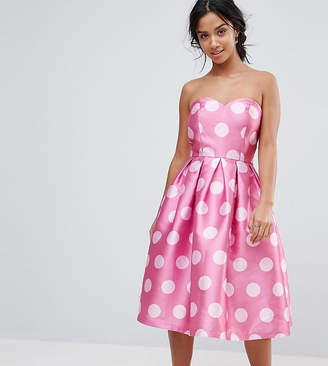 Chi Chi London Petite Structured Bandeau Midi Dress in Polkadot