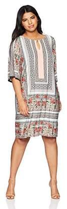Sandra Darren Women's Plus Size 3/4 Bell Sleeve Printed ITY Sheath Dress