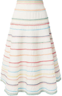 Zimmermann Laelia Embroidered Linen And Cotton-blend Skirt - Off-white