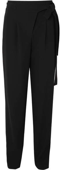 Michael Kors Collection - Tie-waist Pleated Wool Serge Tapered Pants - Black