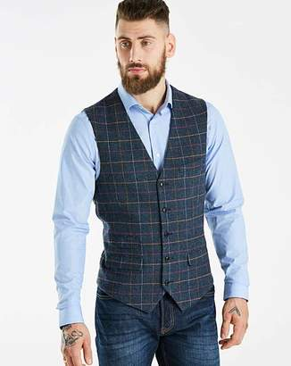 Jacamo Black Label Blue Slim Checked Tweed Waistcoat Long