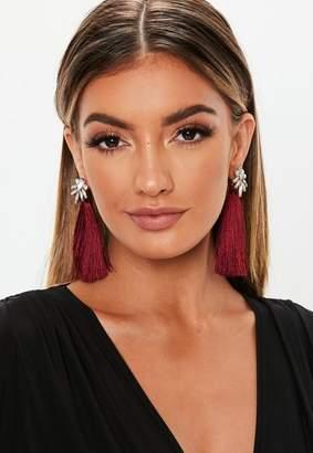 Missguided Burgundy Tassel Crystal Flower Top Earrings