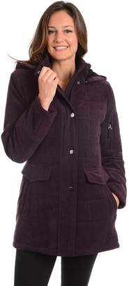 Fleet Street Women's Hooded Quilted Faux-Suede Jacket