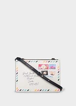 Women's Cream And Navy 'Envelope' Print Leather Cross-Body Bag