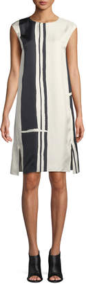 Theory Striped Silk Cap-Sleeve Sheath Dress