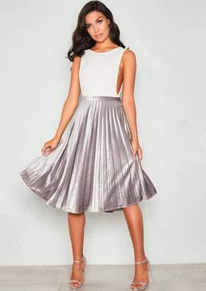 a86333140fda75 Missy Empire Missyempire Sue Silver Velvet Pleated Midi Skirt