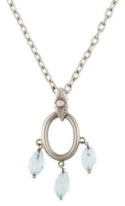 18K Blue Topaz & Diamond Pendant Necklace