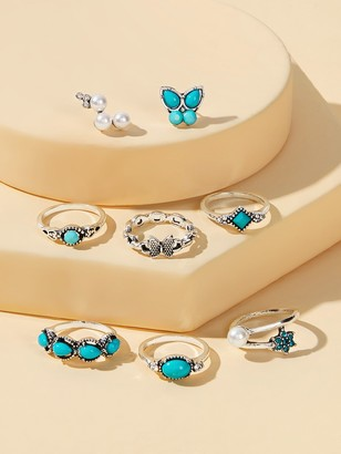 Shein Turquoise Detail Ring & Earrings 8pcs