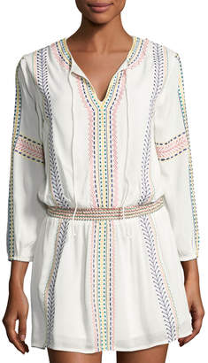 Philosophy Split-Neck Embroidered Tunic, Ivory $99 thestylecure.com