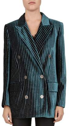 The Kooples Tree Metallic Striped Double-Breasted Velvet Blazer