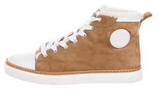 Hermes Shearling-Trimmed Suede Sneakers