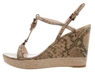 Prada Sport Metallic T-Strap Wedge Sandals