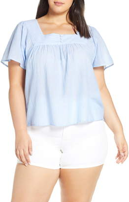 Lucky Brand Square Neck Flutter Top